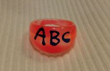 "New handmade fashionable large orange chunky ""ABC"" plastic ring"