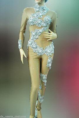 Da NeeNa M016 Showgirl Body Painting Nude Catsuit Bodysuit XS-XL