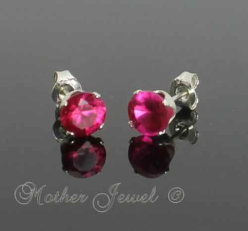 5mm REAL SOLID 925 STERLING SILVER Round Ruby Red Womens Mens Earrings Studs