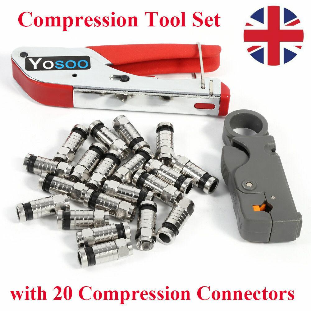20pc F-Type Compression Stripper Tools Coaxial Crimping RG58 RG6 RG59 Connectors