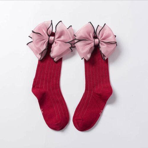 1 Pair Kids Socks Soft Cotton Baby Girls Socks Big Bow Frilly Knee High Socks`