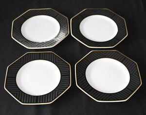 Villeroy & Boch Heinrich Black Pearl Set Of Four Bone China Salad Plates