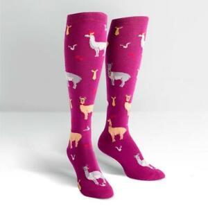 Womens-Knee-High-Socks-Llama-Drama-Sock-Colourful-Long-Cute-Funny