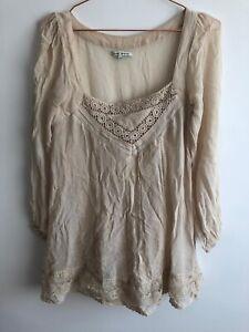 River Island   Size 10   Cream Chiffon Cute Crochet 3/4 Sleeve Relaxed Top