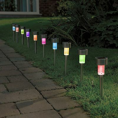 10 20 Solar Ed Colour Changing Post Lights Stainless Steel Stick Ebay