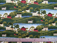 FARM HOMESTEAD SCENIC RURAL  PRINT 100% COTTON FABRIC BY THE 1/2 YARD