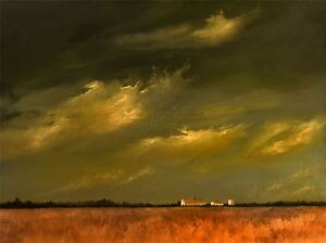 ART-PRINT-POSTER-PAINTING-LANDSCAPE-WHEAT-FIELD-BARN-FARM-STORMY-SKY-LFMP1139