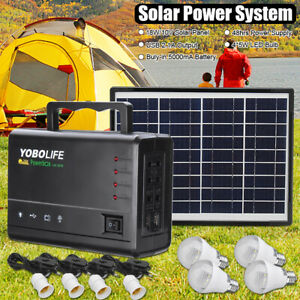 Solar-Power-Panel-Kit-Generator-LED-Light-Home-Caravan-Camping-Charging-Battery