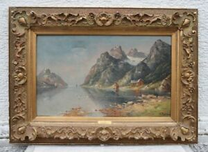 A. LORENZ 19. Jahrhundert - Fjord in Norwegen