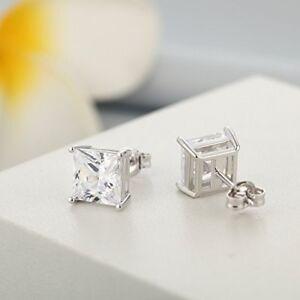 1//2 Ct Diamond Stud Earrings Princess Cut Mens Womens Earrings 14K White Gold