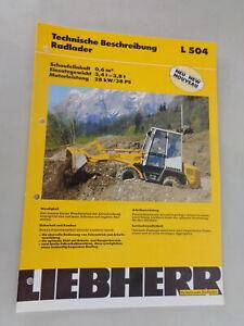 Data Sheet / Technical Description Liebherr Wheel Loader L 504 Stand 06/1994