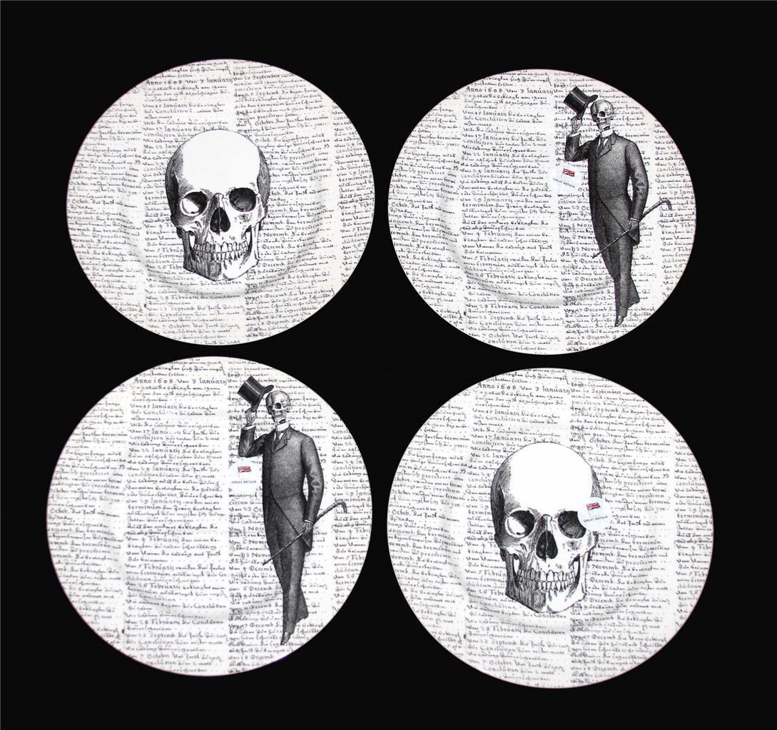 4 Royal Stafford Squelettes cranes Script Noir Blanc Assiettes Angleterre Neuf Avec étiquettes
