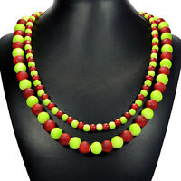 Red & Green Candy Shell Statement Necklace Semi-precious Gemstone Bead Jewellery