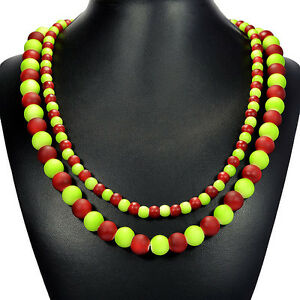 Red-amp-Green-Candy-Shell-Statement-Necklace-Semi-Precious-Gemstone-Bead-Jewellery