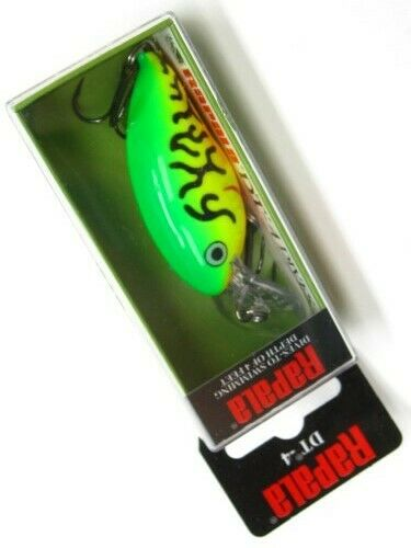 Rapala DT-4 Firetiger DT 4 Dives To Size 04 Crankbait Fishing Lure DT04-FT