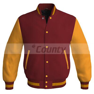 Letterman Baseball College Varsity Bomber Jacket Sports Golden Black Satin