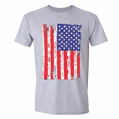 American Flag distressed Heart 4th of July T-shirt Vintage USA Pride Shirt White