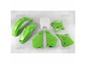 Kit-plastiques-UFO-origine-blanc-vert-KAWASAKI-KX-500-1989-1990-1991-1992