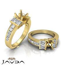 Princess Side Diamond Engagement Ring 18k Yellow Gold 1Ct Heart Cut Semi Mount
