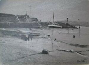 A4 Pencil drawing Newquay beach Wales Harbour Original artwork sketch sailing