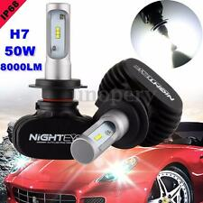 2x Nighteye H7 LED Headlight 50W 8000LM Lamp Car Bulb Foglight White Light 6500K