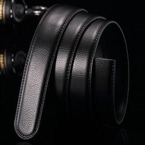 Schwarz-Luxus-Maenner-PU-Lederguertel-Bund-Falle-ohne-automatische-Knopf-Neu