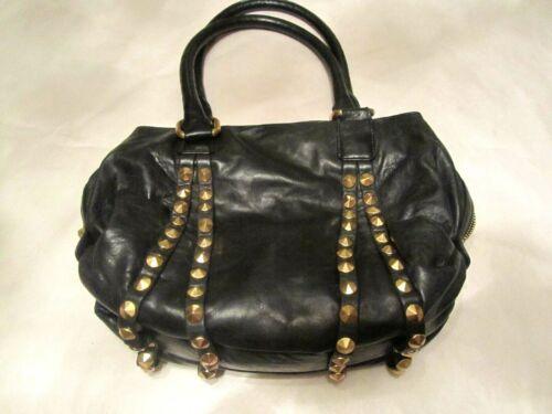 Treesje Black Gold Studded Handbag Purse Bag