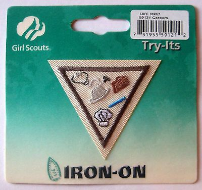 Retired Girl Scouts Brownie Try It Badge Patch ~ Blue Border ~ Girl Scout Ways