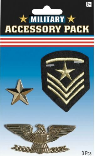 War Military Assortment 3 pack Patch Pin Army Medal Costume Accessory Prop NEW