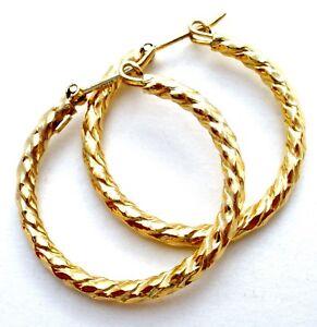 Details About 14k Yellow Gold Hoop Earrings Vintage Unoaerre 2 4 Grams Italian Twisted Hoops