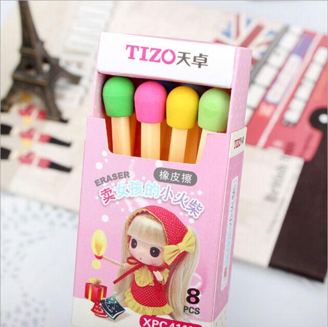 8 pcs Novelty Lovely Match Shape Pencil Eraser School Office Stationery Kid TWUK