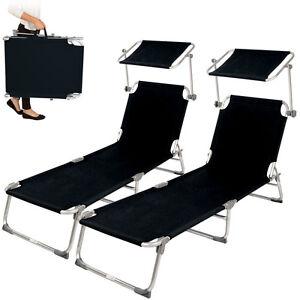2x-Alu-chaise-longue-de-jardin-pliante-transat-bain-de-soleil-pare-soleil-noir