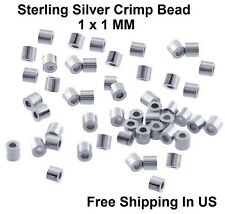 Sterling Silver Crimp Bead 1 x 1 MM (pack Of 100) Made In USA