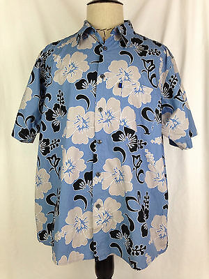 Pineapple Connection Mens Hawaiian Shirt XL Size Blue Floral Beach Surfing Camp