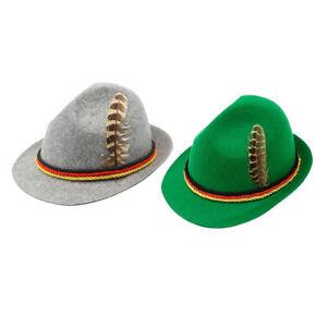 Unisex Wollfilz Fedora Hut mit Abnehmbare Feder Oktoberfest Kurze Krempe Hut