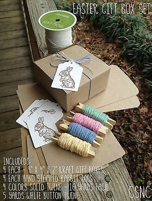 "4 Each - 4"" x 4"" x 2"" Natural Kraft Easter Gift Box Set - Boxes - Twine - Tags"