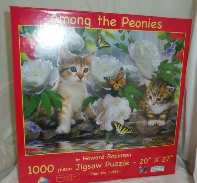 SunsOut-famille Ottoman 1000 Pièce en forme de puzzle//chiens et chats chatons Pups