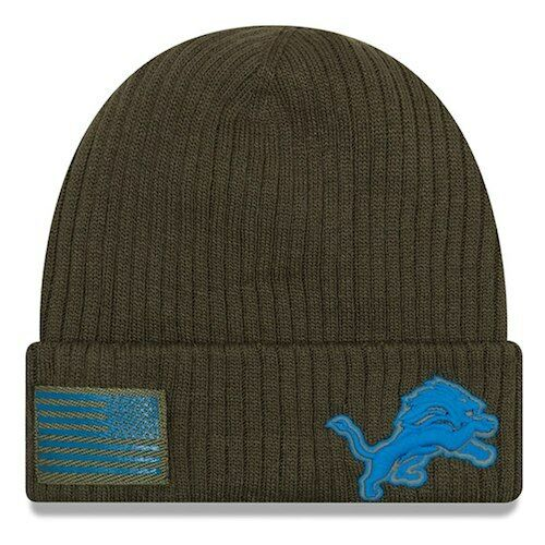4d74d06a369 Era Detroit Lions Olive 2018 Salute to Service Sideline Cuffed Knit Hat