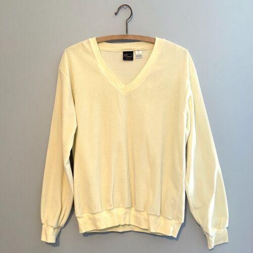 Vintage Velour Mens Sweater 70s 80s Deep V Neck V… - image 1
