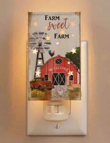 Primitive FARM SWEET FARM Star Night Light Plug In WINDMILL BARN TRUCK ROOSTER