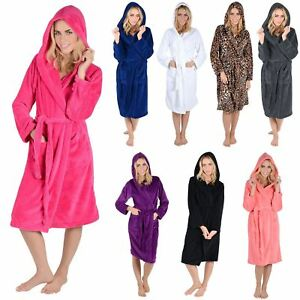 Image is loading Womens-Luxury-Coral-Fleece-Hooded-Bathrobe-Dressing-Gown- fec92487b