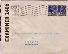 ALGERIE - ALGER - LETTRE POUR GENEVE 26-1-1943 - BANDE PC90 OPENED BY EXAMINER 2