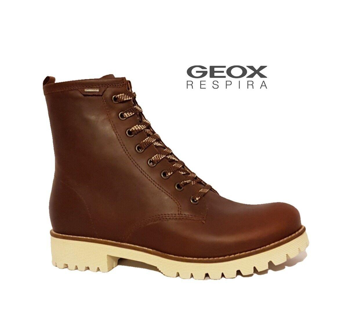 GEOX AMPHIBOX RESIRA WALKING BOOTS  WAXED BROWN LEATHER WATERPROOF LADIES