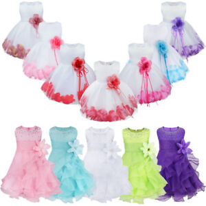 3eab602688bf UK Petals Baby Flower Girls Dress Party Gown Wedding Bridesmaid ...