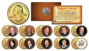 JUSTICES-of-US-SUPREME-COURT-DC-Quarters-10-Coin-Full-Set-24K-Gold-Plated-JUDGES