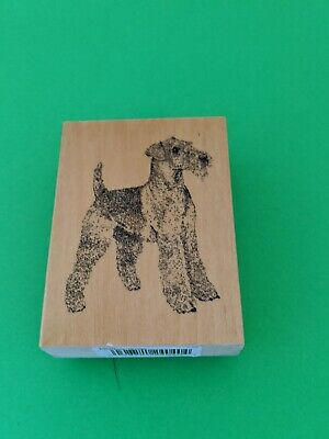 Airdale Terrier Olive Wood Charity Stamp