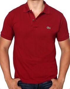 Lacoste-Men-039-s-Short-Sleeve-Classic-Cotton-Pique-Polo-Shirt-L1212-51-476-Burgundy