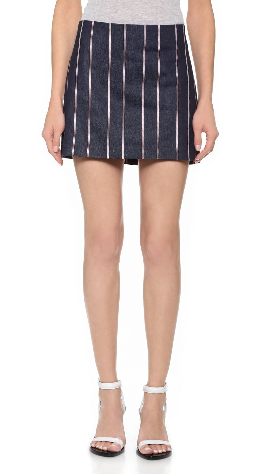 T Alexander Wang Sz 6 M Red White Striped Indigo Denim Mini Skirt