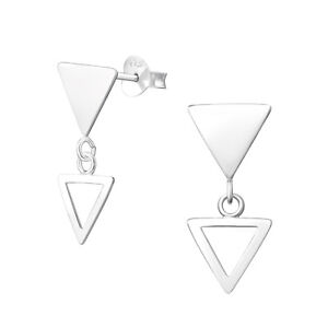d4500300d Image is loading 925-Sterling-Silver-Hanging-Triangle-Geometric-Stud- Earrings-
