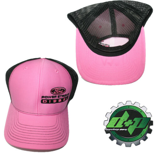 Ford Powerstroke richardson 112 hat truck diesel PINK black mesh snap back cap